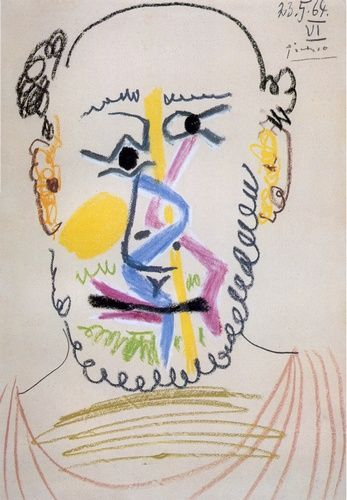 'Head of a Bearded Man', Oil by Pablo Picasso (1881-1973, Spain)
