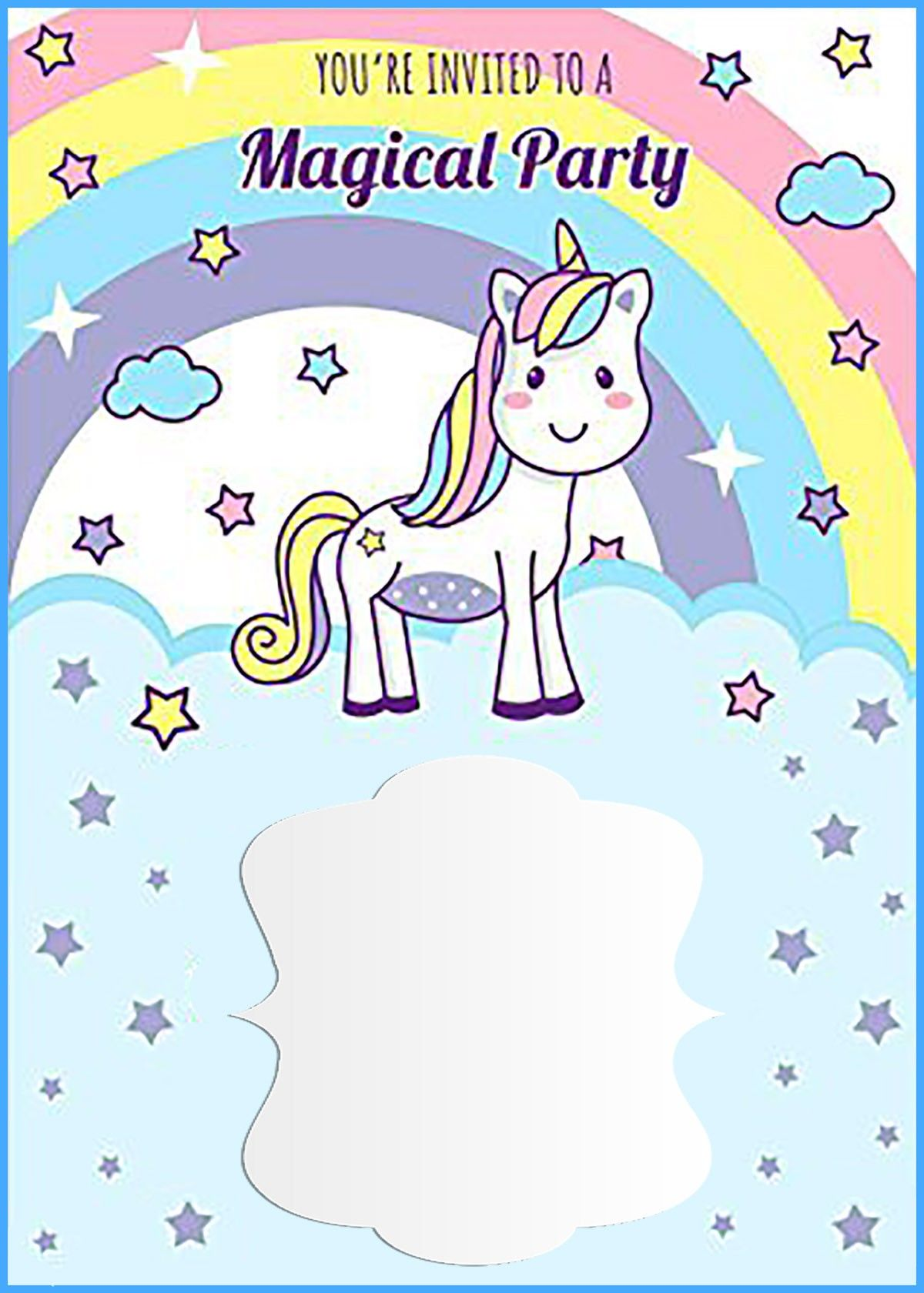 photograph regarding Free Printable Unicorn named Unicorn No cost Printable 1st Birthday Invitation Template