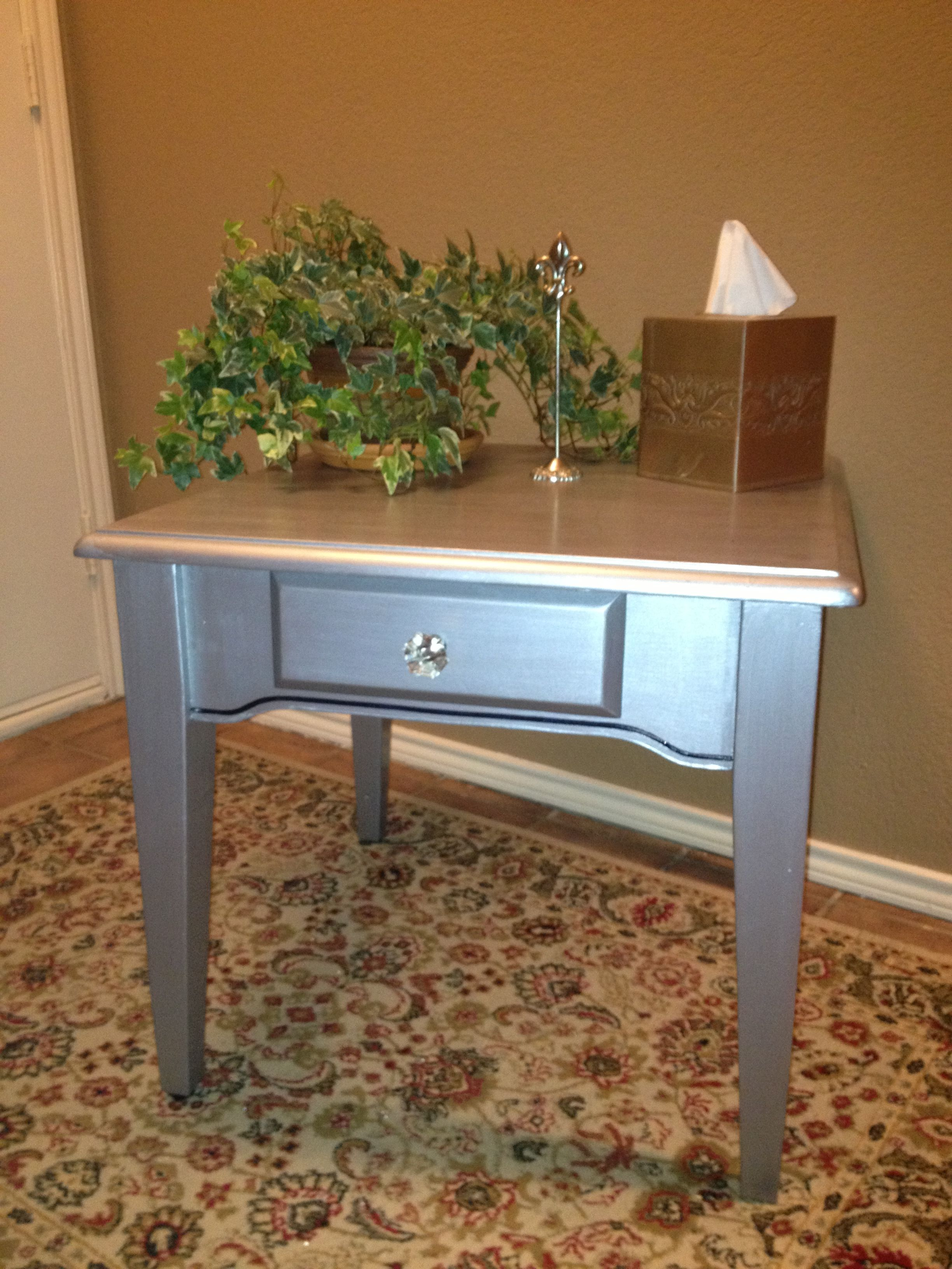 Custom painted vintage table.  Hollywood glamor for your decor.  972-935-2481