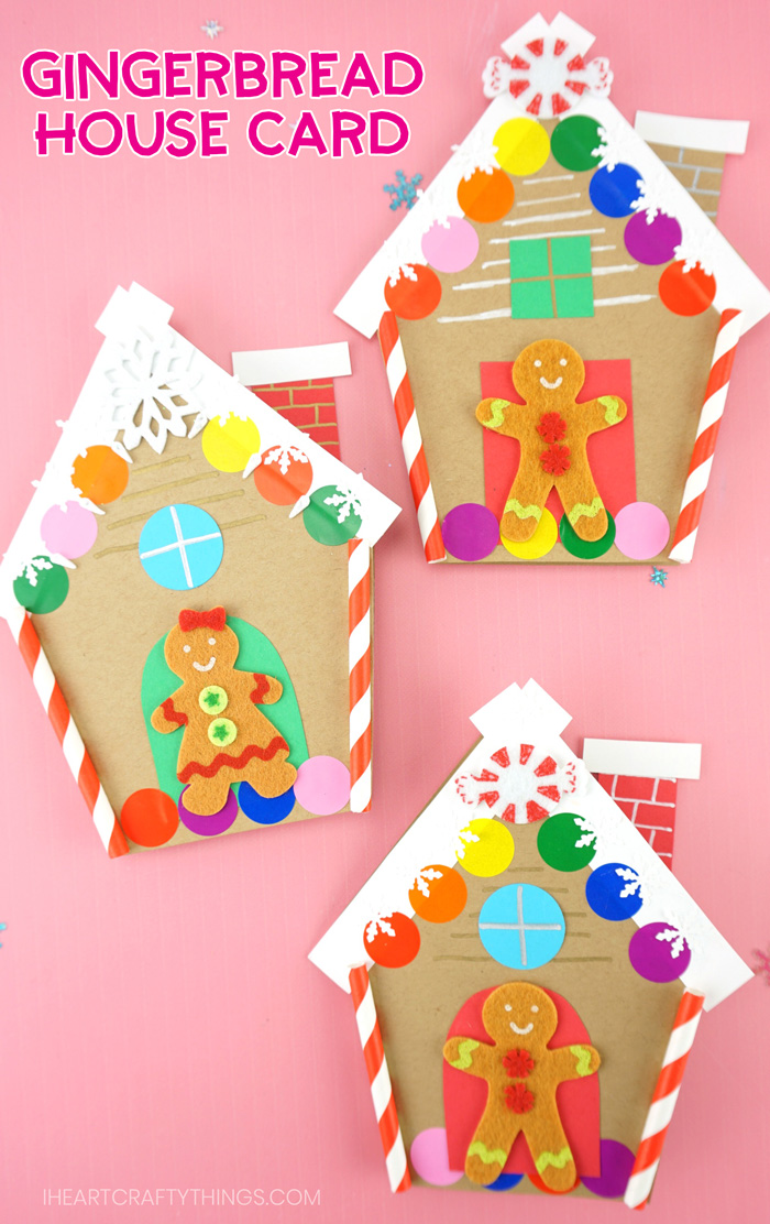 How To Make A Gingerbread House Card For Christmas Christmas Cards Kids Christmas Coloring Cards Winter Crafts For Kids