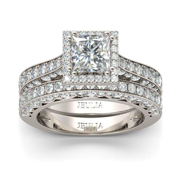 Halo Princess Cut Sterling Silver Ring Set Bridal sets Princess