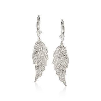 T W Diamond Angel Wing Earrings In Sterling Silver