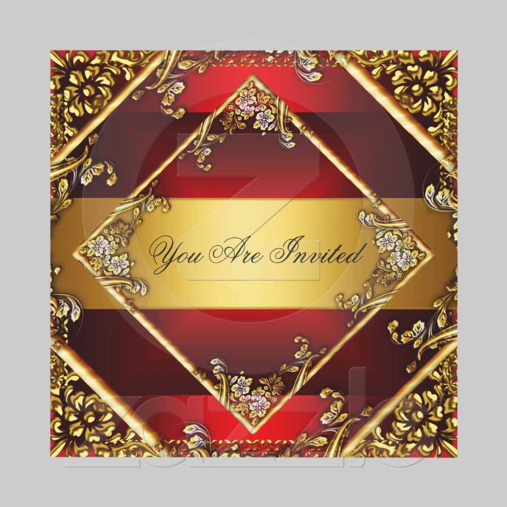 Gold Red Party Invitation Floral Frame | Red party and Party ...