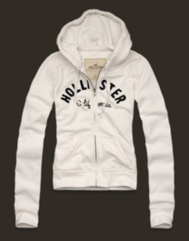 $25 Hollister white zip up hoodie!   Hollister clothes