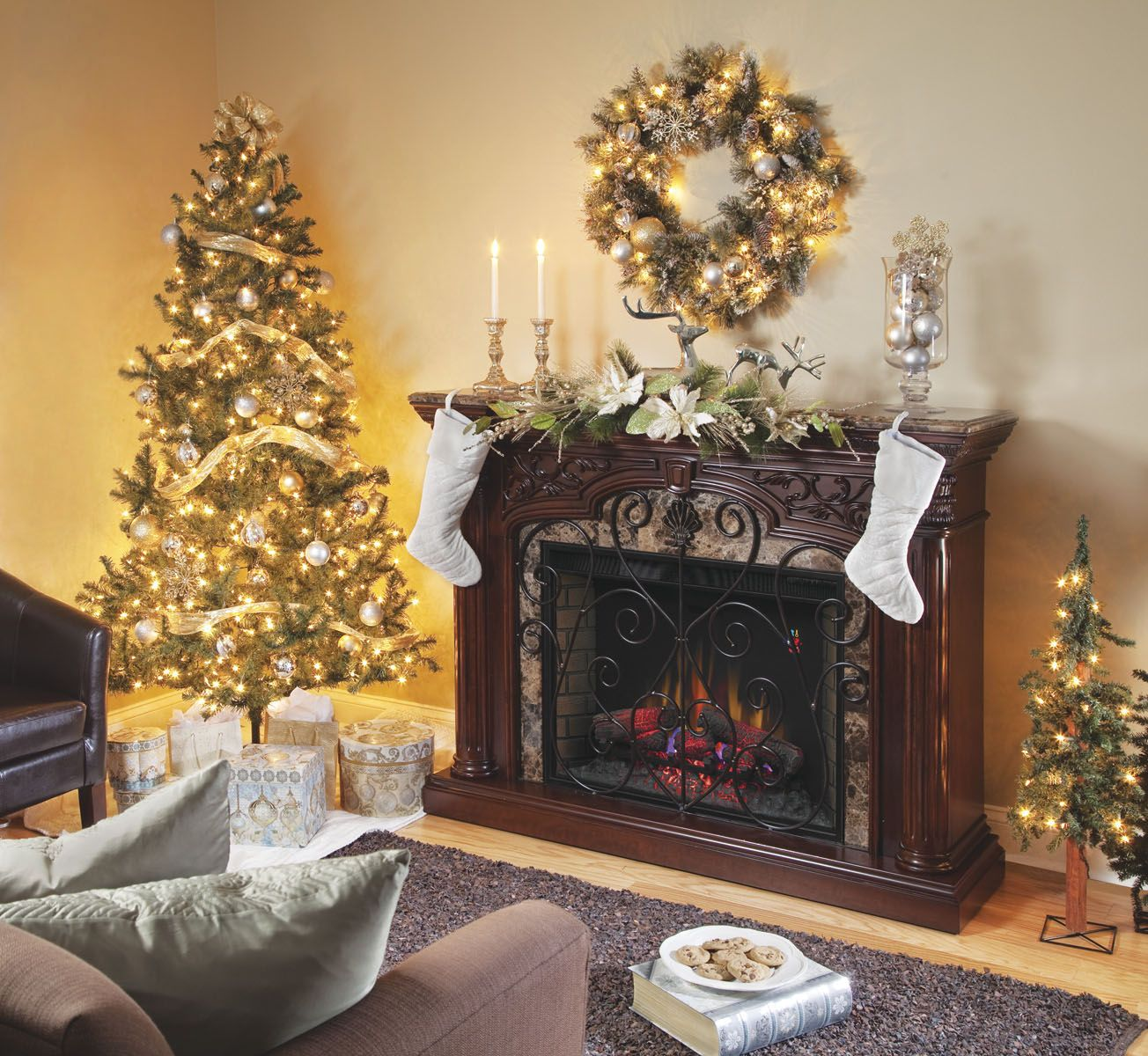The Astoria Electric Fireplace From Classic Flame Is Decorated In A