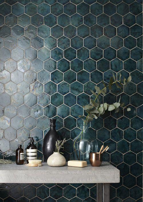 Hex Tile Wall Mystery Teal Explosion Jpg Tile Trends Handmade Home Decor House Interior