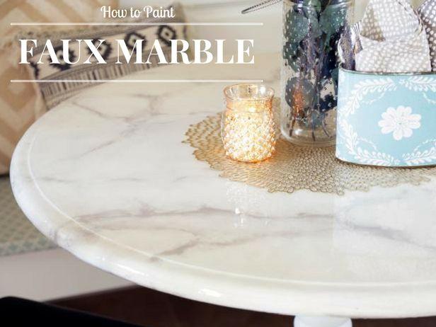 How To Paint A Faux Marble Tabletop | Decorating And Design Blog | HGTV U003eu003e  Http://www.hgtv.com/design Blog/how To/faux Marble Dining Table  Diy?socu003dpinterest