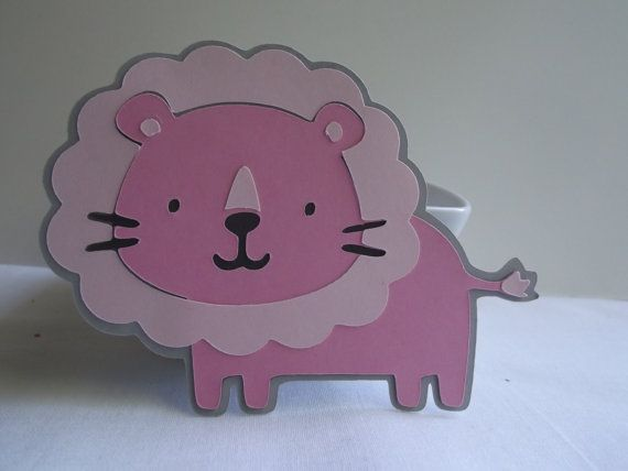"""Lion Die Cuts ~  3"""" Pink & Grey Jungle Animal Die Cuts, Baby Shower, Zoo First Birthday Party, Safari Baby Shower, Jungle Birthday Party"""