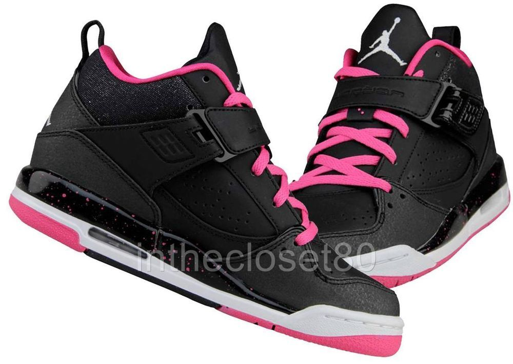 premium selection d87a6 1a815 Nike Air Jordan Flight 45 Gs Mid Black Pink White Grey Womens Girls  Trainers New  NikeJordan  Trainers