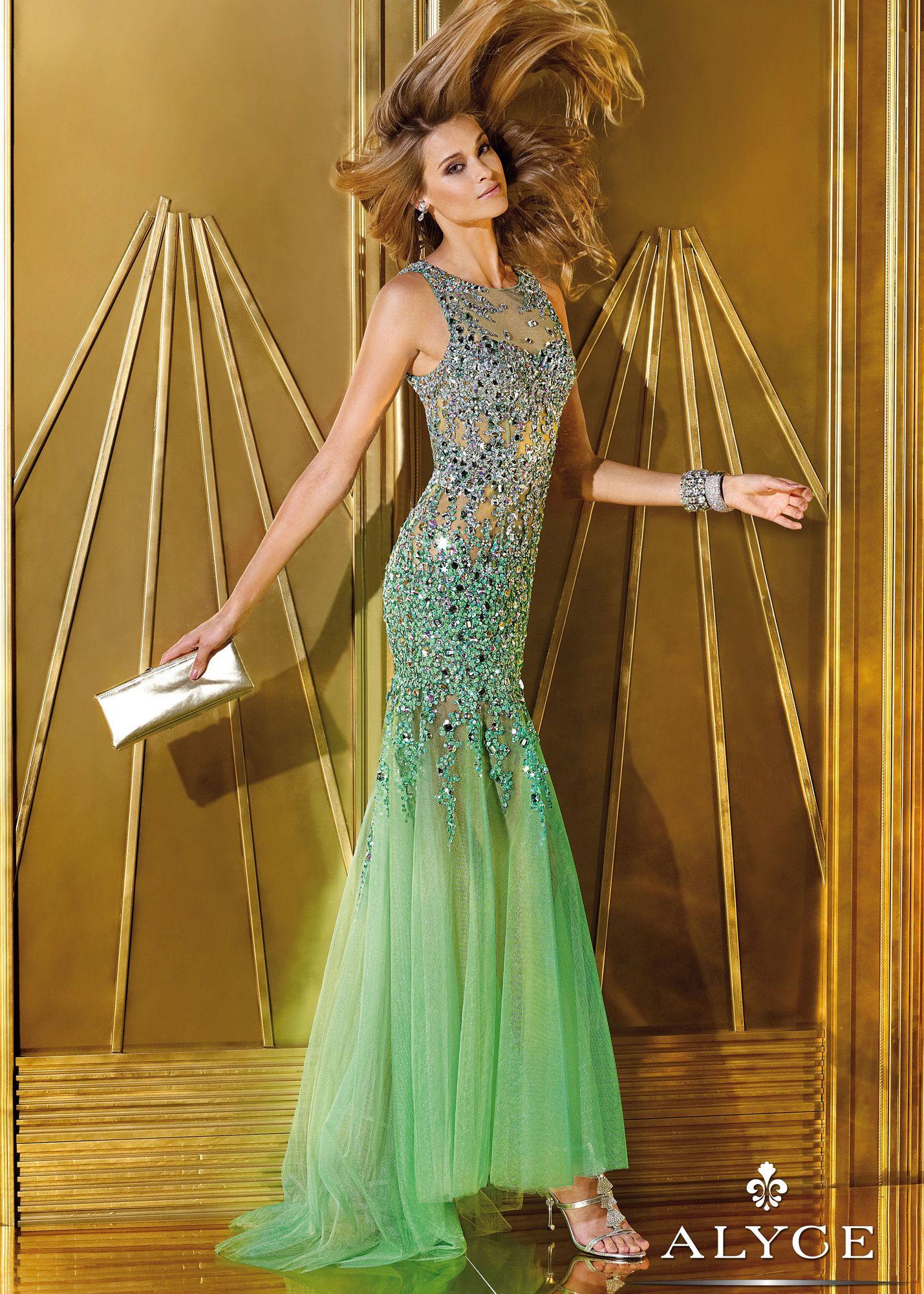 Green dress prom  Alyce Prom   Absinthe Sheer Beaded Mermaid Prom Dresses Online