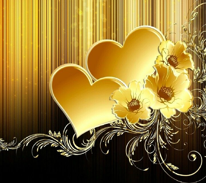 Beautiful Golden Hearts And Flowers Gold Wallpaper Phone Gold Wallpaper Gold Wallpaper Hd