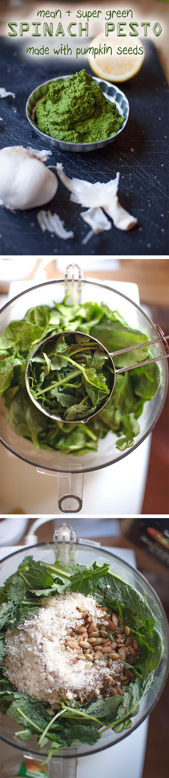 healthy Spinach Pesto #recipe -- vegan option // neverhomemaker