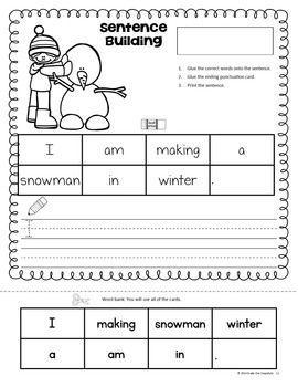 winter sentence building january sentence building homeschool kindergarten sentences. Black Bedroom Furniture Sets. Home Design Ideas