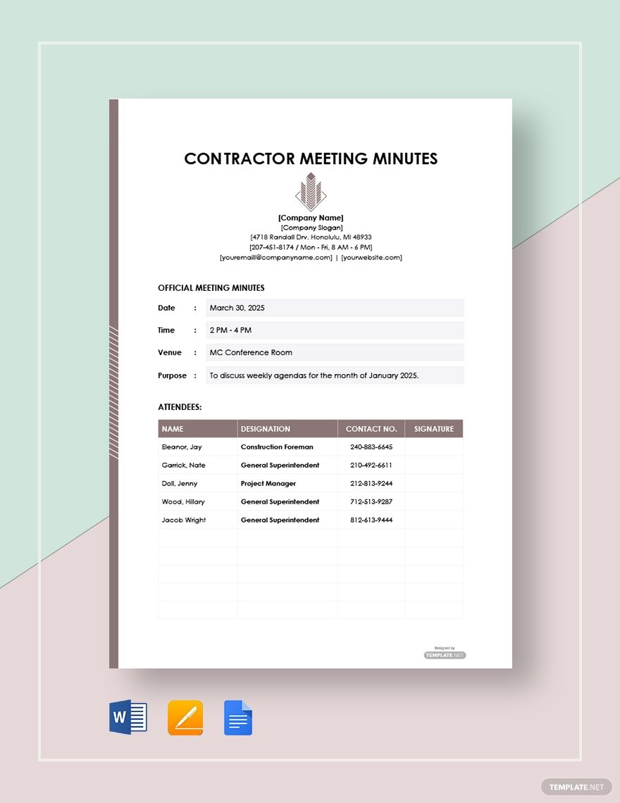 Free contractor meeting minutes template ad paid
