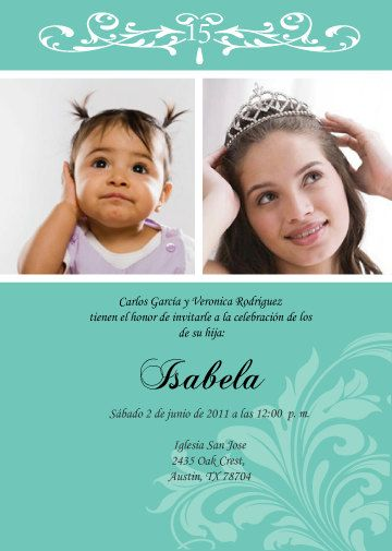 Diy Invitation Quinceanera Baby Photo English By Cecydesigns