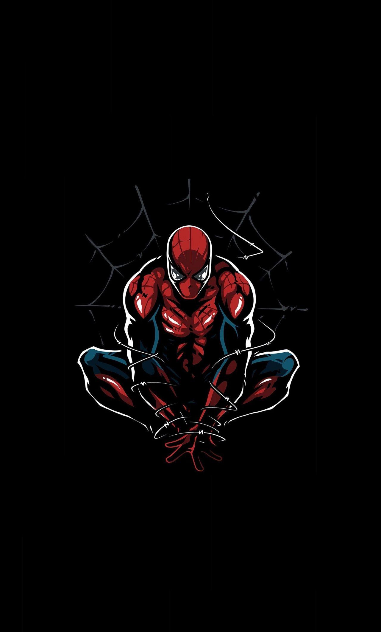 Dark Spider Man Minimal Artwork 1280x2120 Wallpaper Spiderman Artwork Superhero Wallpaper Marvel Wallpaper