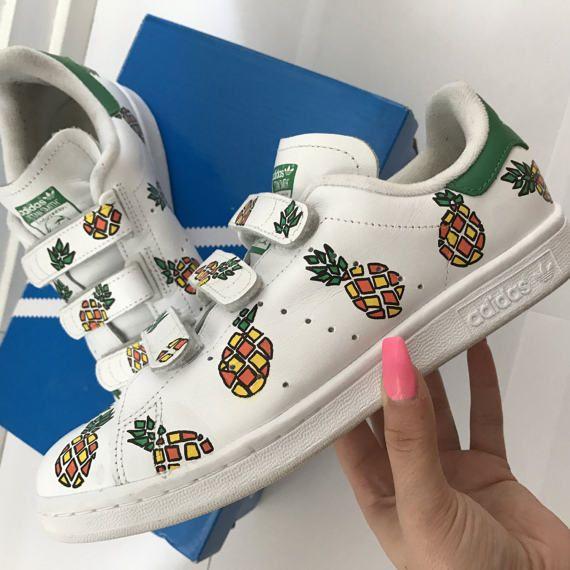 the latest ca53e 2d392 Adidas Stan Smith custom Pineapple   Sneaker en 2019   Custom shoes, Adidas  shoes women et Adidas sneakers
