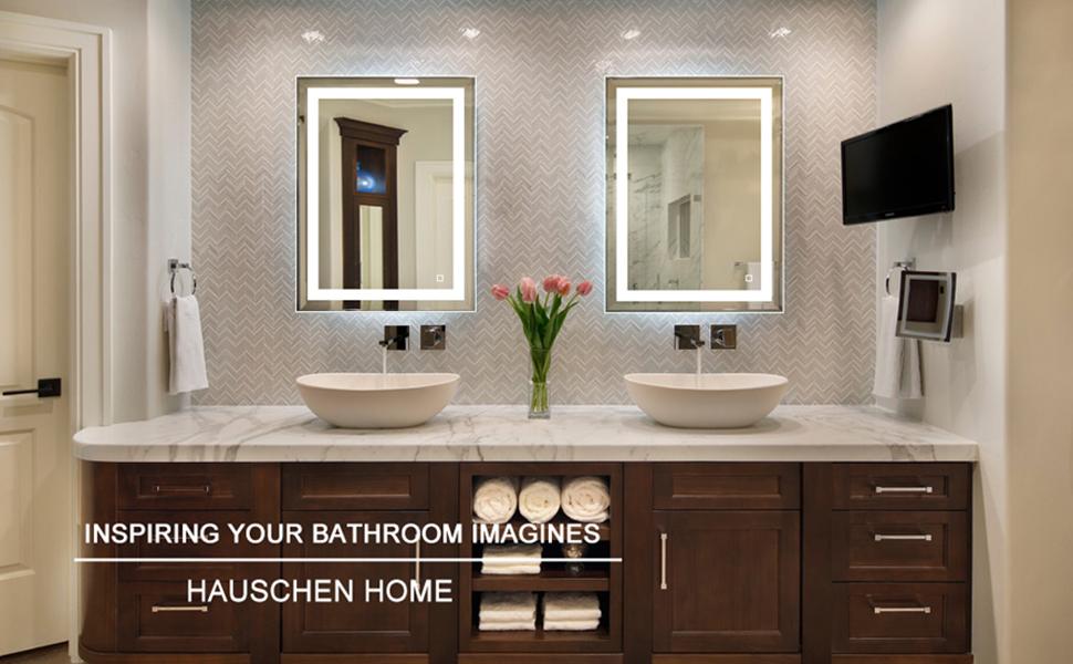 Amazon.com: HAUSCHEN 36x28 inch LED Lighted Bathroom Wall ...