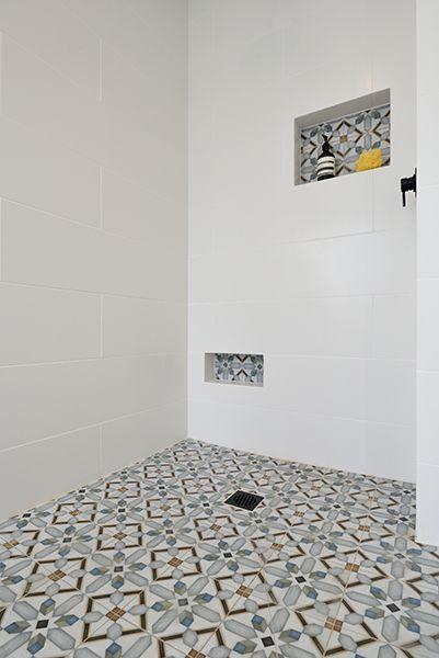 Niki Tiff From The Block Nz Main Bathroom Featuring On The Floors Demel Multicolour 200 X 200mm A White Bathroom Tiles Small Cottage Bathrooms White Bathroom