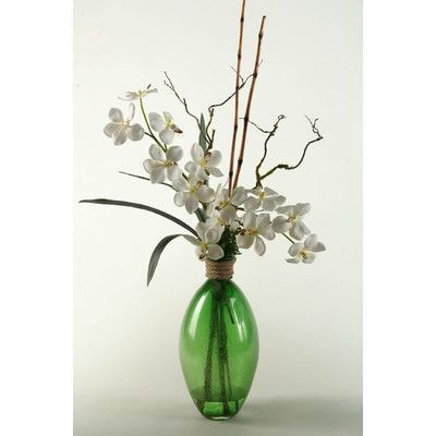 D W Silks Cream Vanda Orchids In Green Glass Vase Products