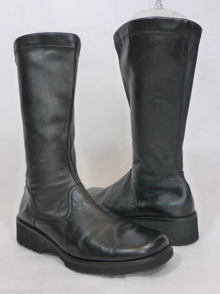 Anyi Lu Greer Black Leather Mid Calf Boots | Fashion | Boots