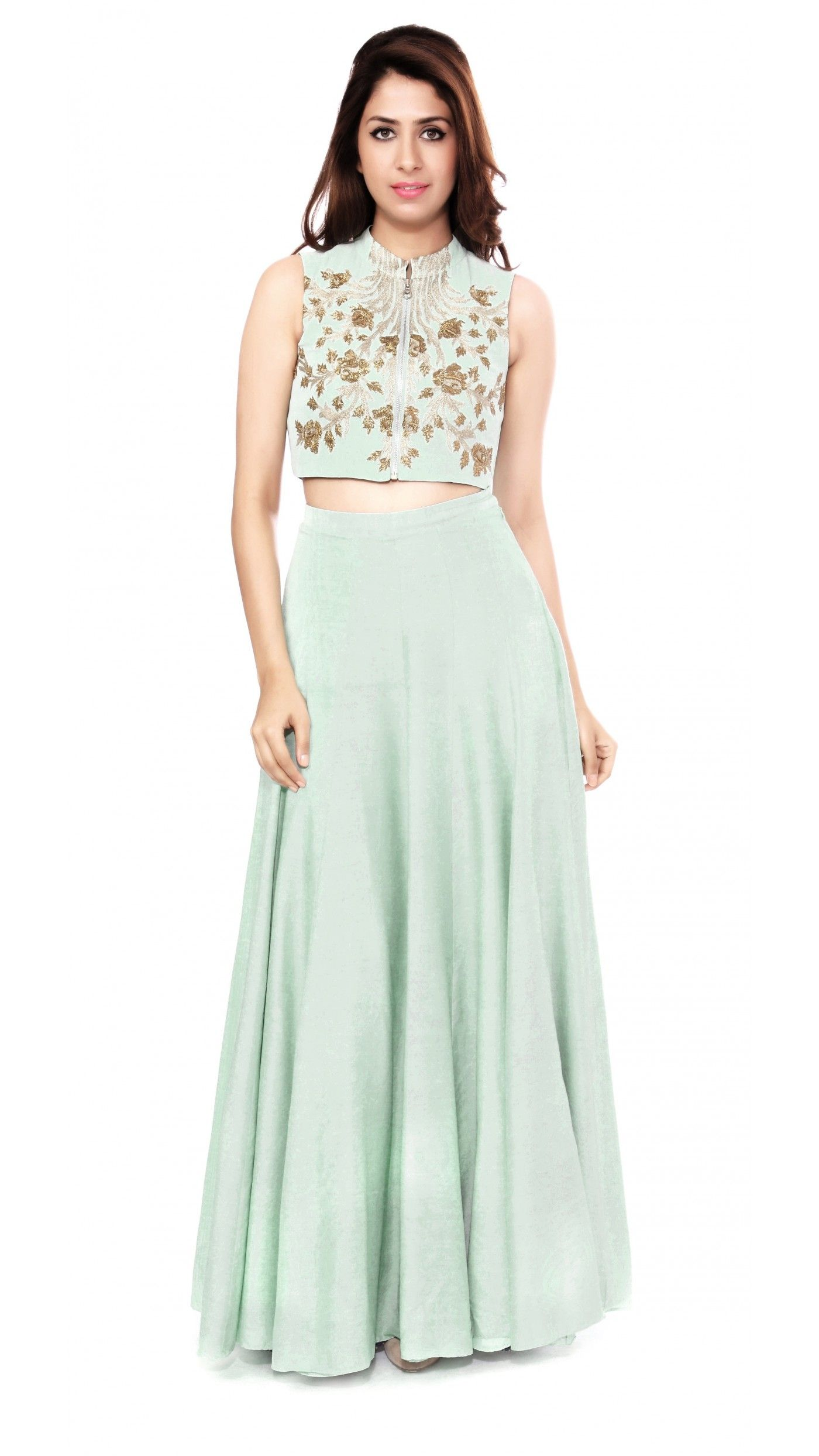 Mint Green Embroidered Crop Top with Lehenga Indian