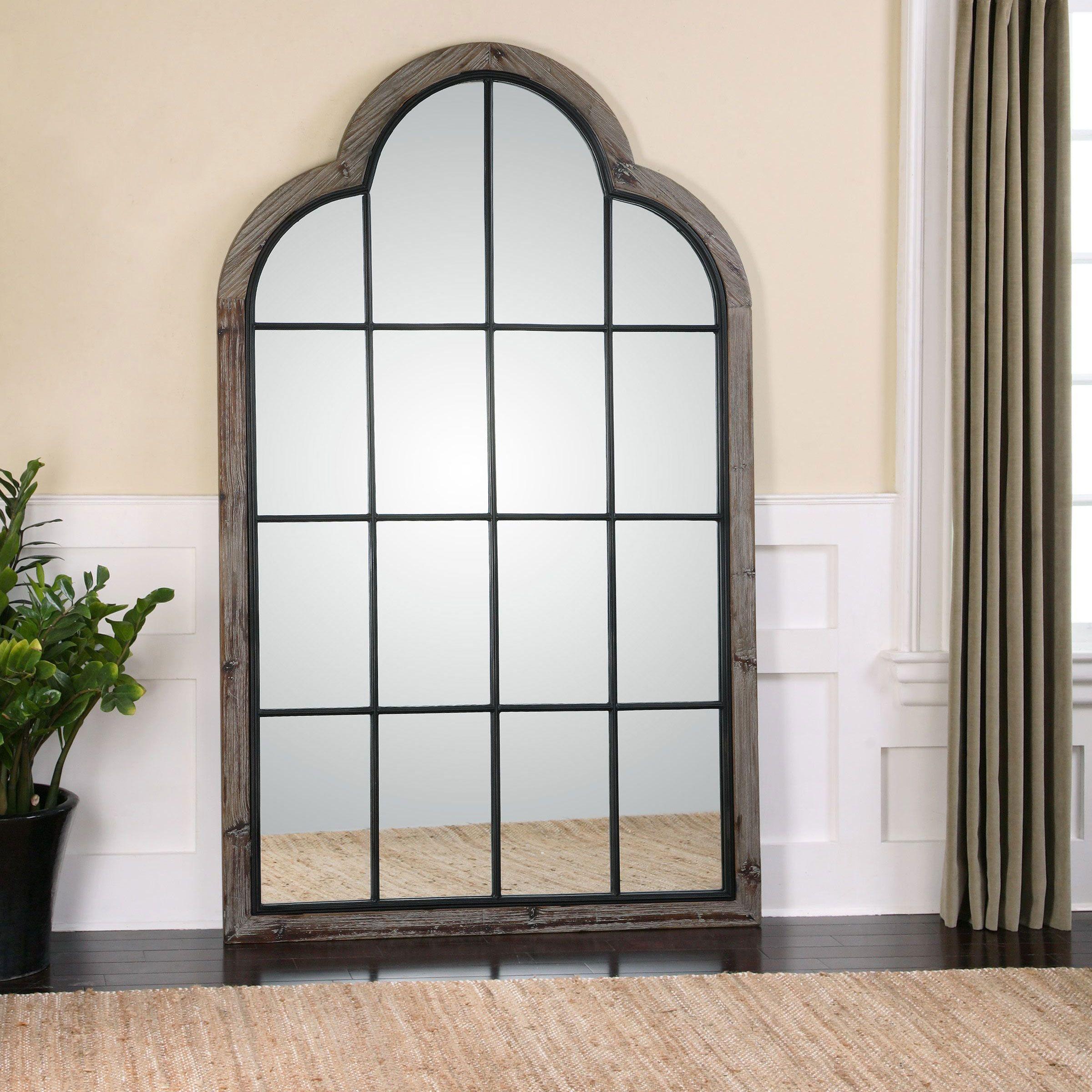 Gavin Rustic Lodge Iron Pane Arch Floor Mirror | Floor mirror, Grey ...
