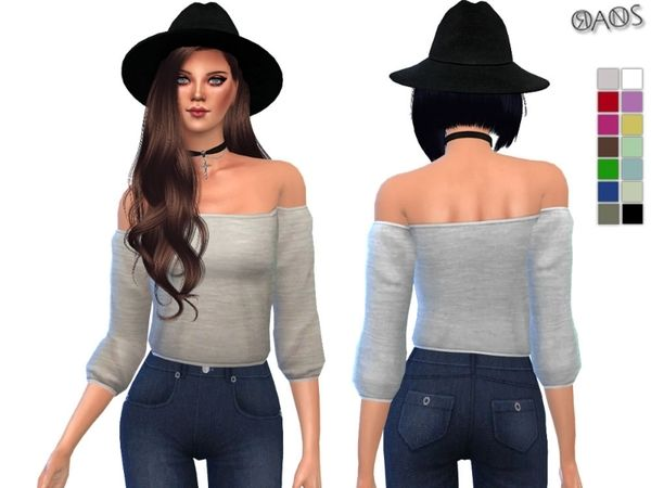 The Sims Resource: Off-Shoulder Cropped Top by Oranos TR ...