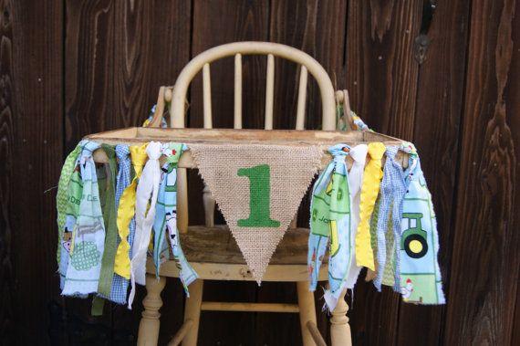 High Chair Banner Farm 1st Birthday John by WeAreFamilyCrafts
