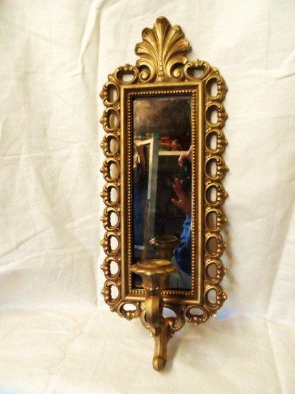 Vintage HOMCO Gold Gilded Mirrored Candle Holder Wall Sconces-Hollywood Regency Style-Retro Paris Chic-Smokey Mirror- Smoked Mirror-Ornate