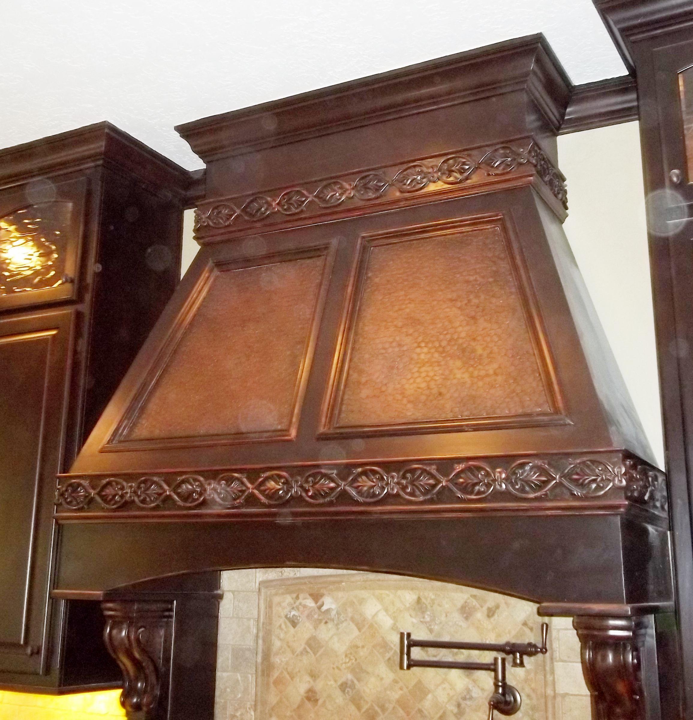 Faux Copper Finish Wood Vent Hood