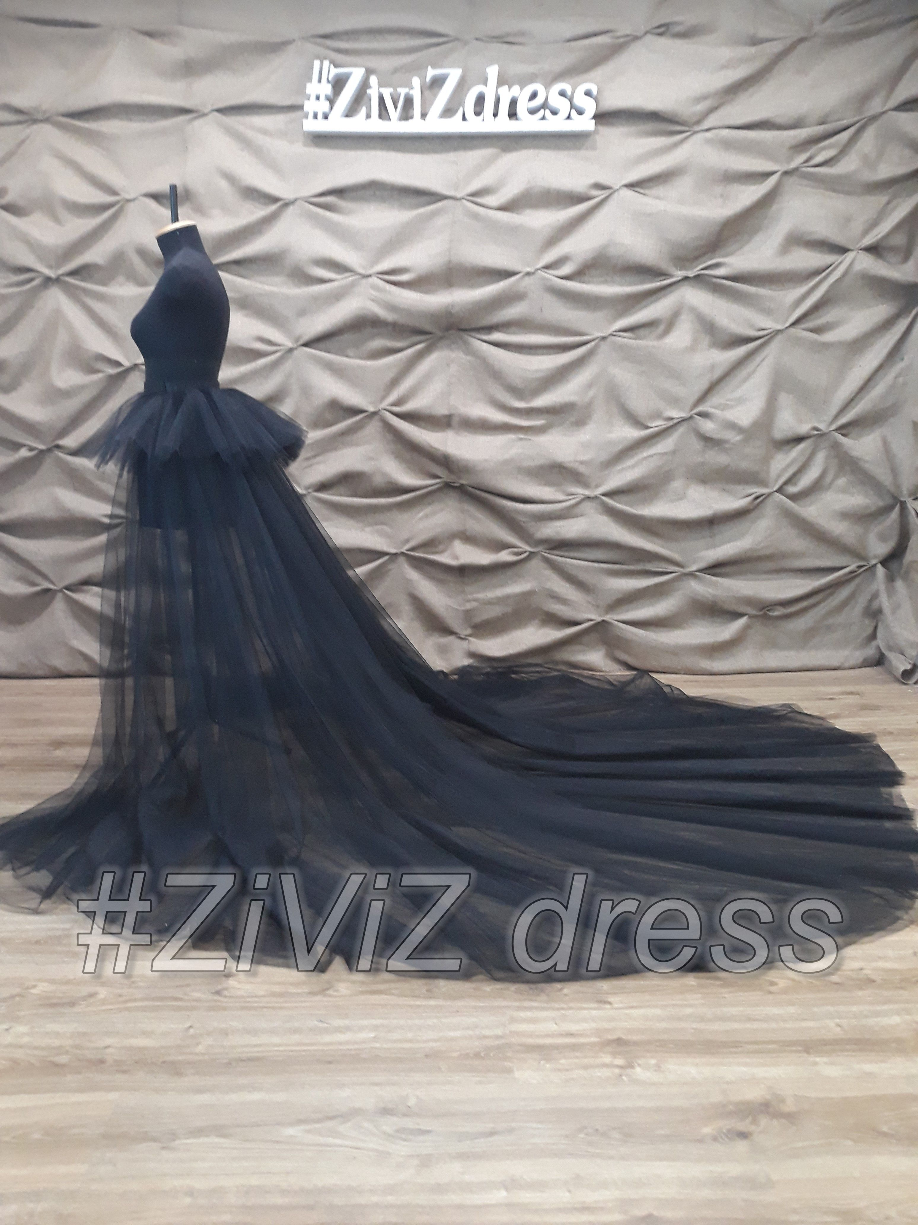Black wedding train with basque detachable train removable skirt