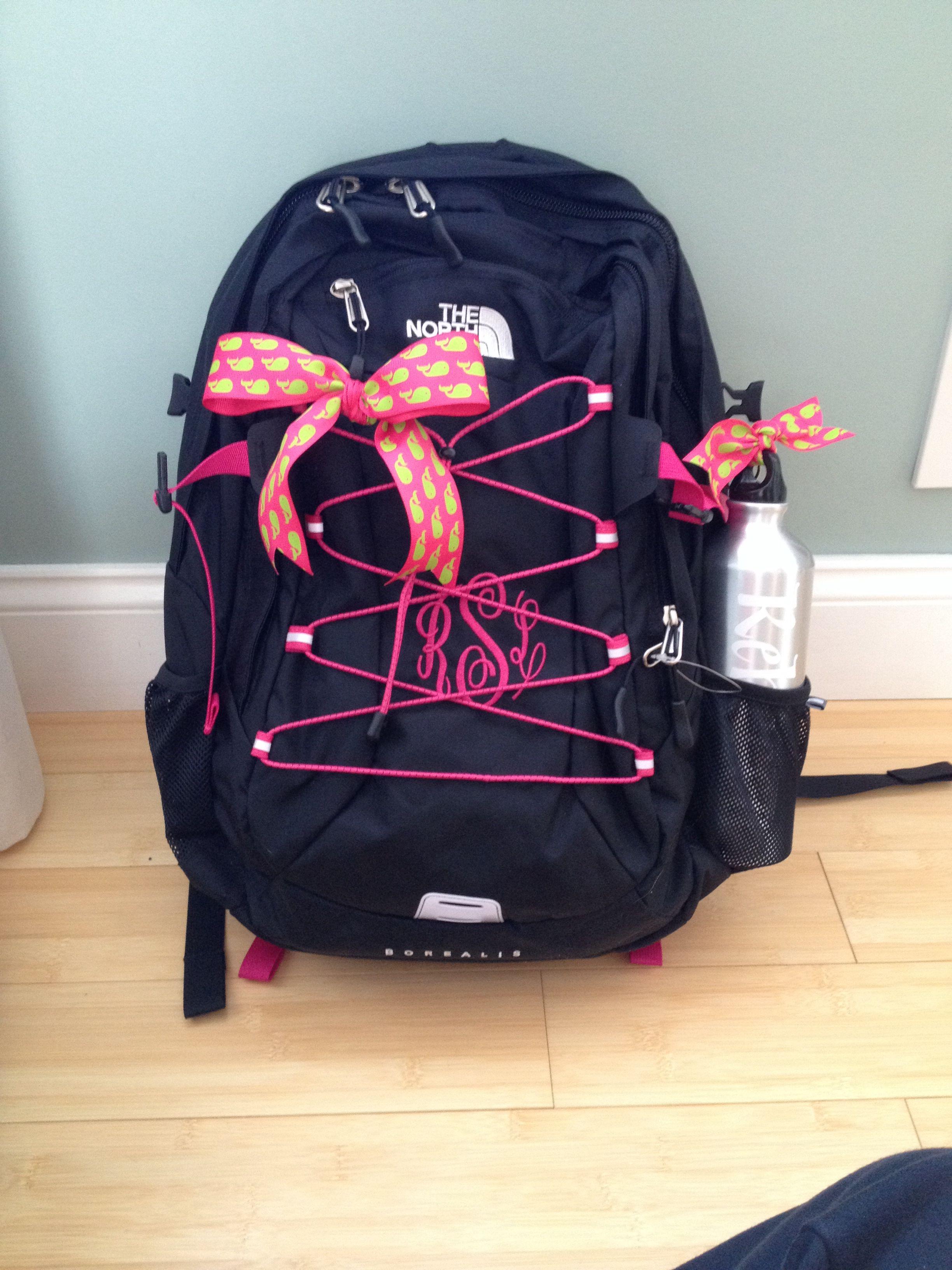 monogramed north face backpack back to school pinterest