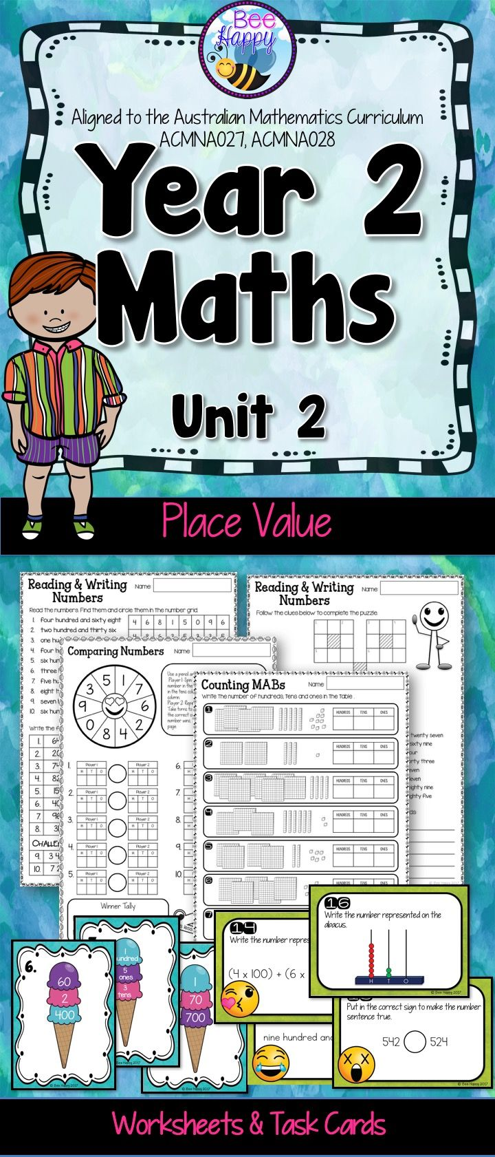 Australian Curriculum Place Value Worksheets and Task Cards Year 2 ...