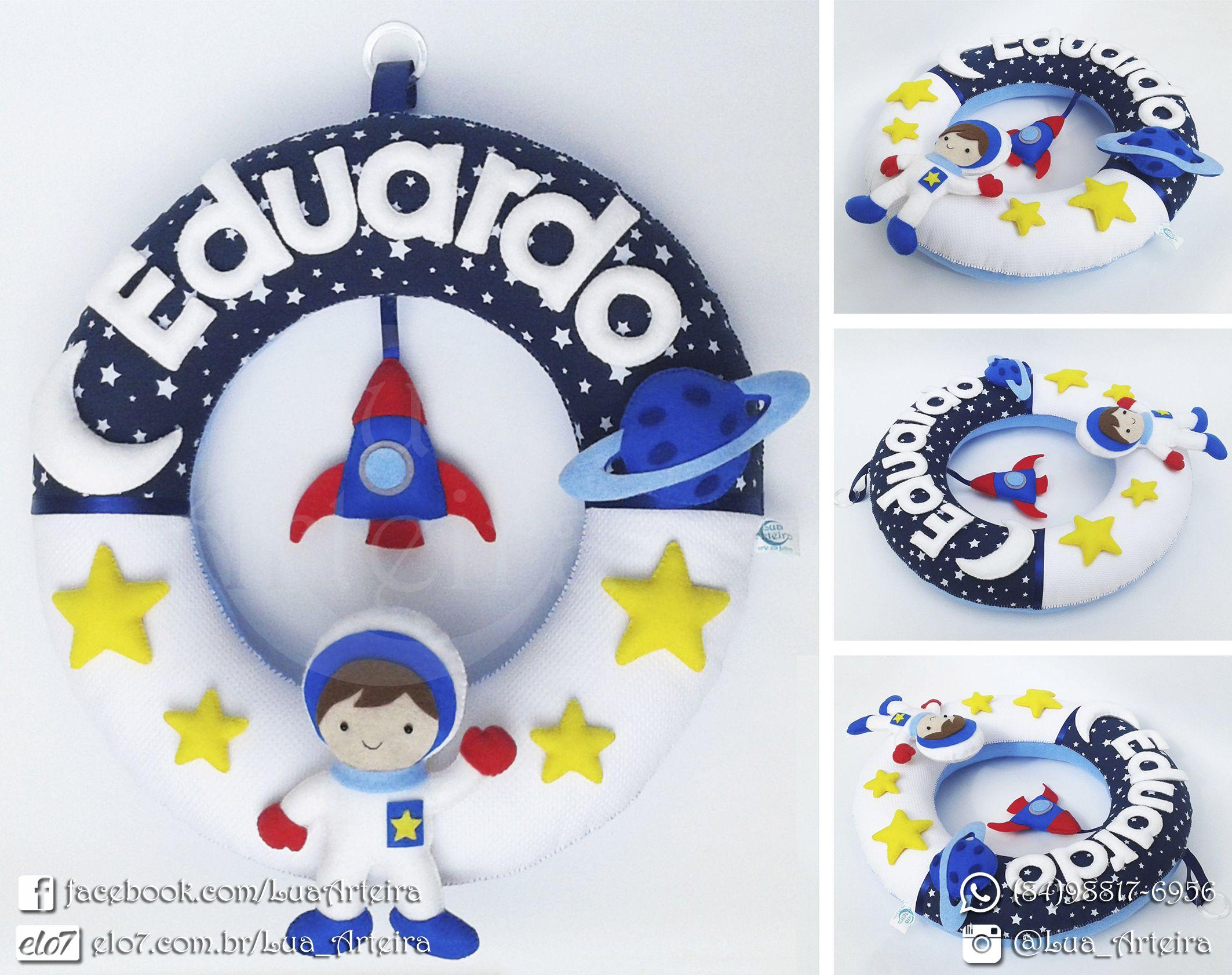 Guirlanda De Feltro Astronauta Com Imagens Guirlanda De Feltro