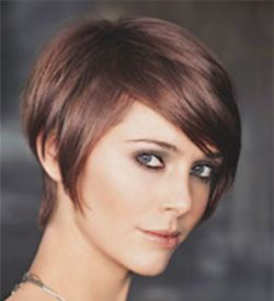Short Nape Cheek Bone Length Very Long Layers on top- Haircut....Warm Reddish GLAZE on light brown hair - Hair Color.... Fine Hair