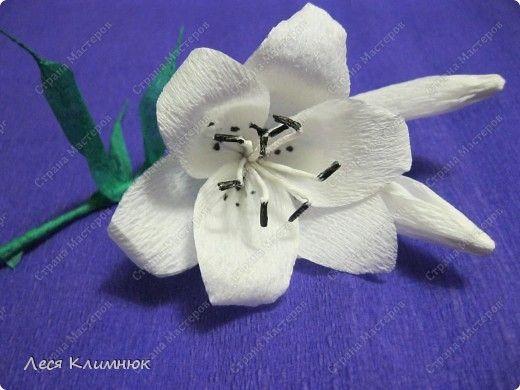 Лилии из гофрированной бумаги фото