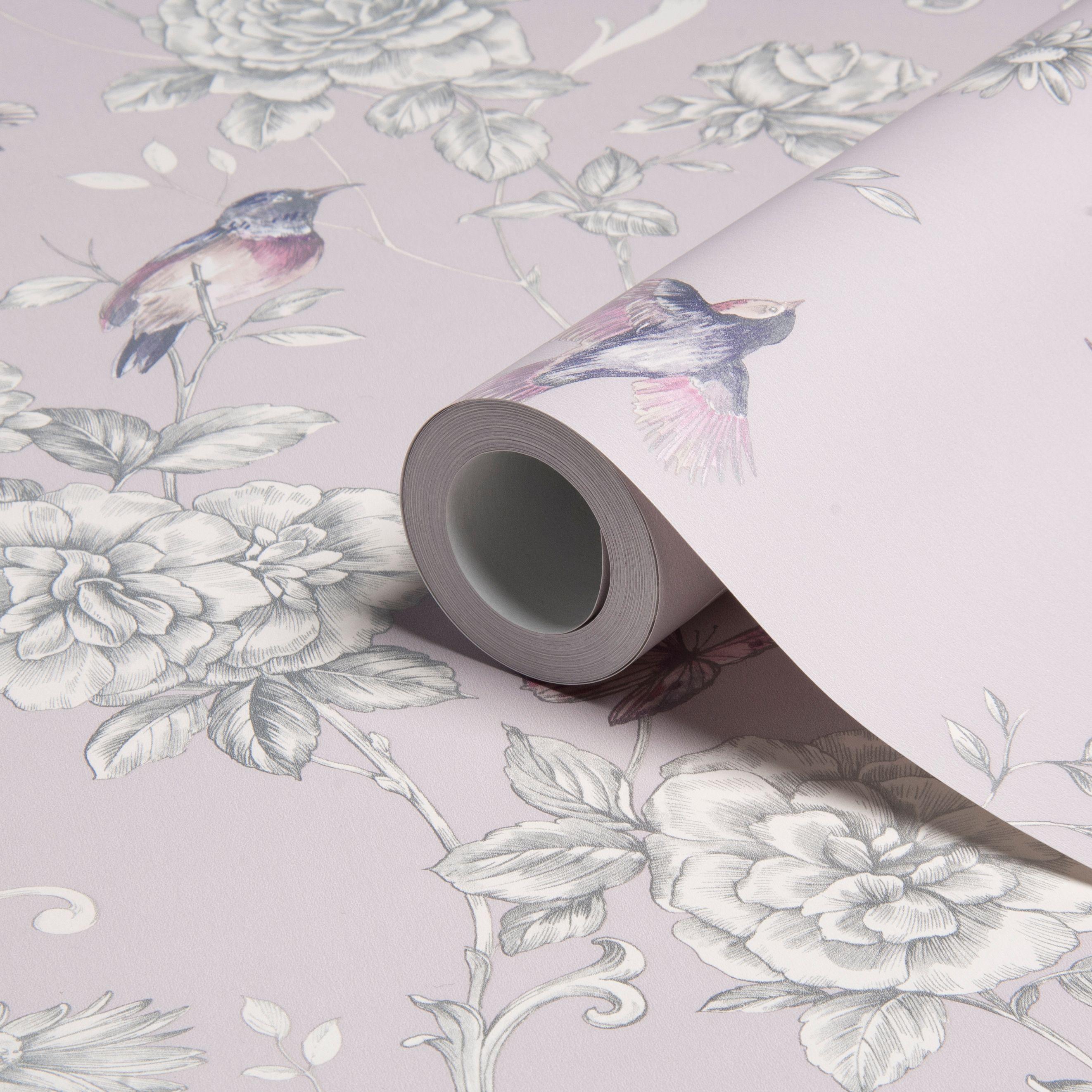 evelyn floral grey wallpaper departments diy at b q. Black Bedroom Furniture Sets. Home Design Ideas