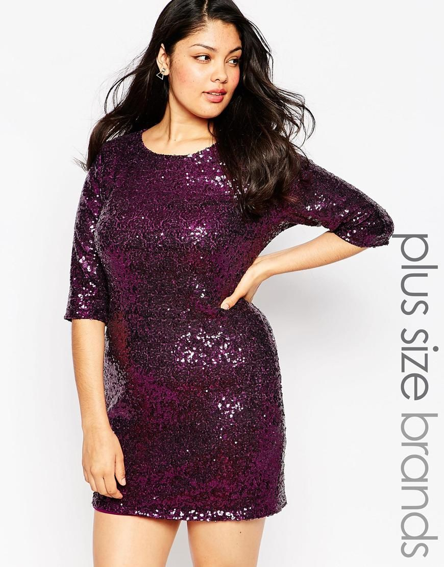 Image 1 Of Club L Plus Size Body Conscious Dress In Sequins