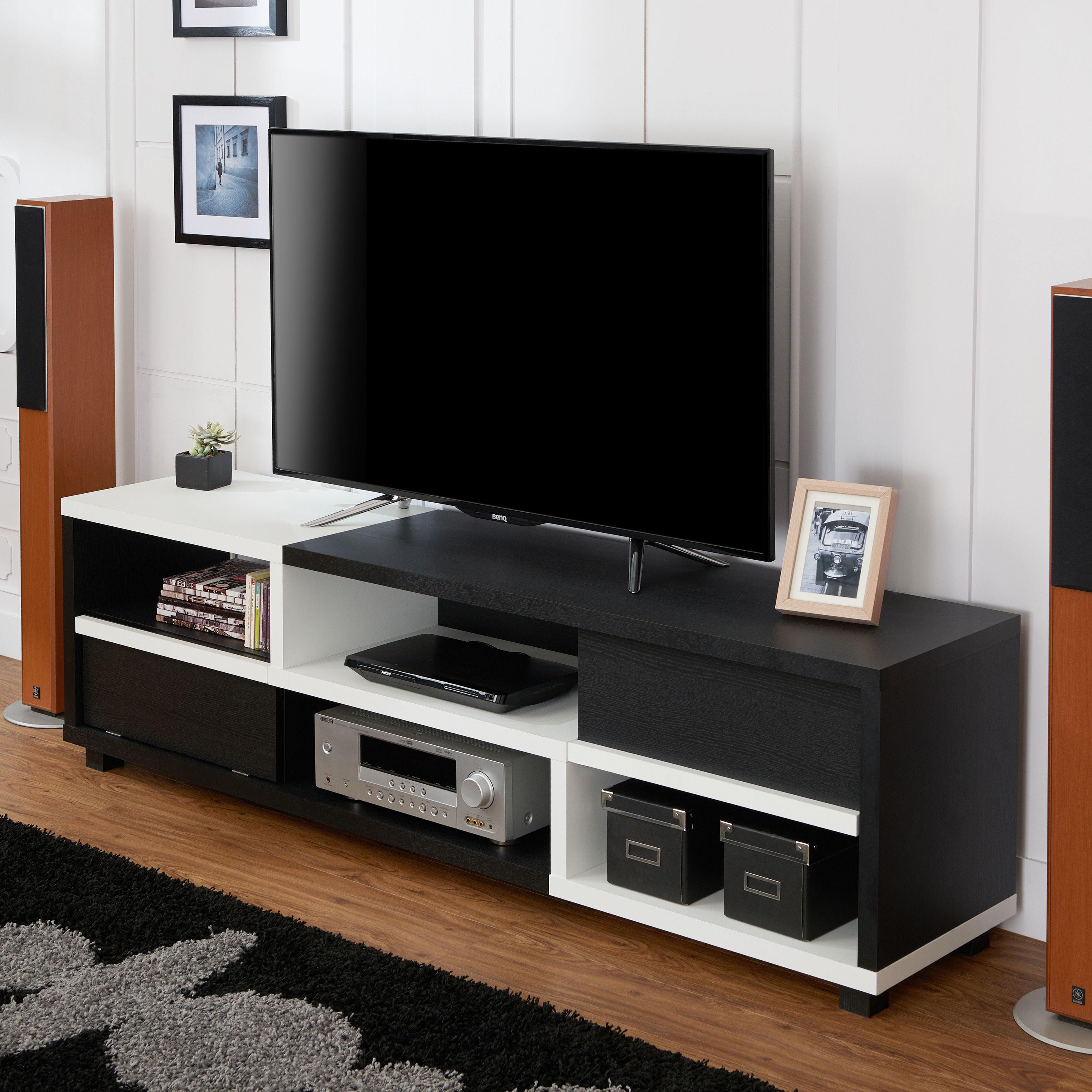 Furniture Of America Curie Modern Two Tone 70 Inch Tv Stand Black