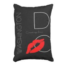 Greetings from Washington D.C. Red Lipstick Kiss Accent Pillow