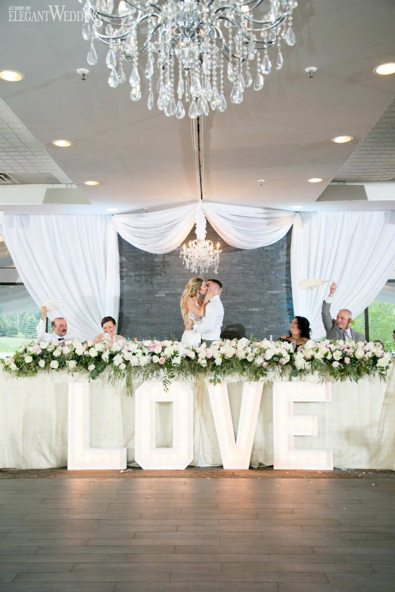 Love Marquee Wedding Letters Greenery Head Table Flowers Elegantwedding Ca