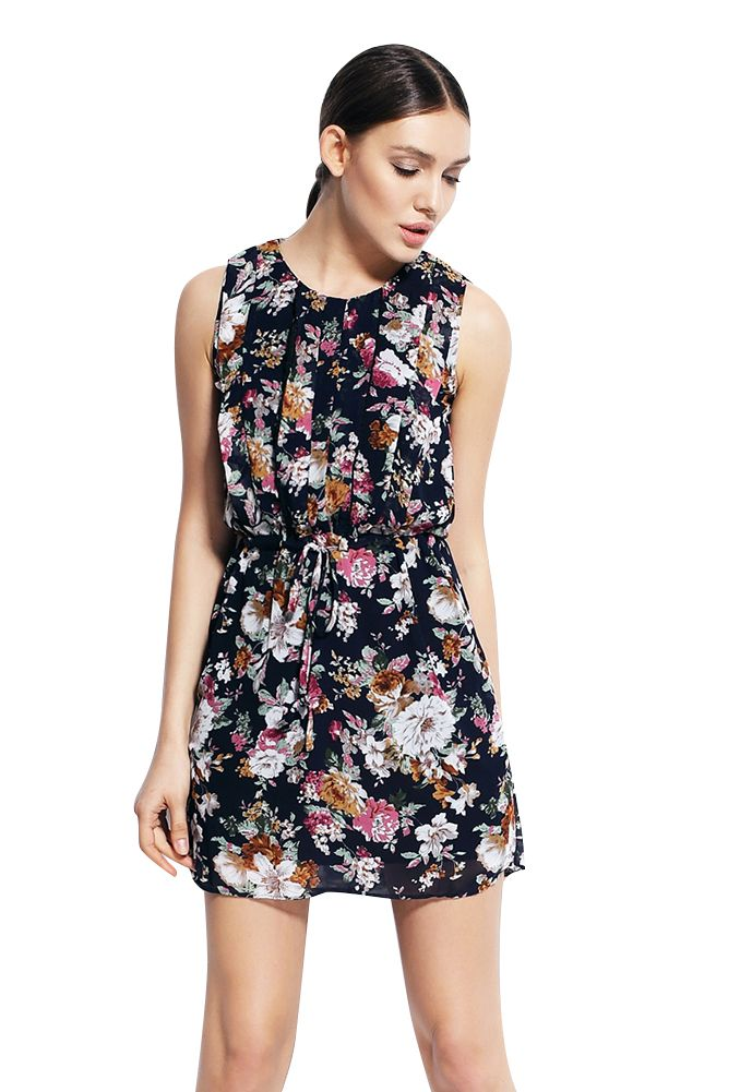 e6fe55858d Olyer Women Round Neck Flower Sleeveless Short Dress Material  Polyester  Loose and comfortable Printed flower Dress style  Short