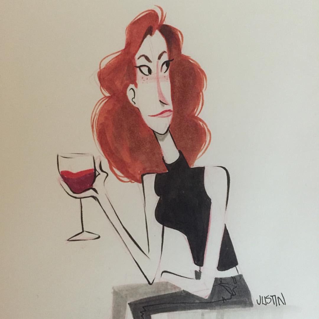 Another Inktober Sketch Doodle Redhead Characterdesign Wine