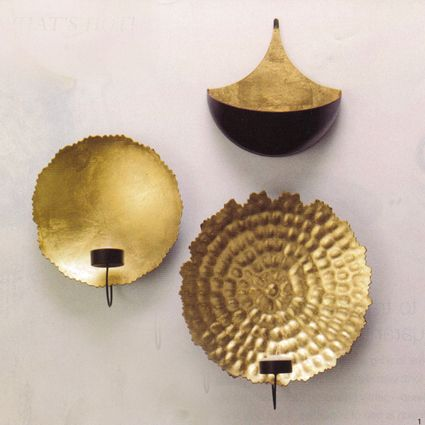 Gold Leaf Wall Sconces  Accented In Gold Leaf, Vagabond Vintageu0027s Metal  Wall Sconces Magnify The Glow Of The Tea Light Candle You Set In.