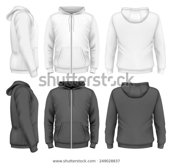 Mens Zip Hoodie White Black Design Stock Vector Royalty Free 249028837 Hoodie Template Hoodies Mens Zip Hoodie