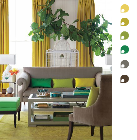 I'm diggin' this color combo; esp. the top three!  Color Scheme of The Week: Yellow, Greens and Browns
