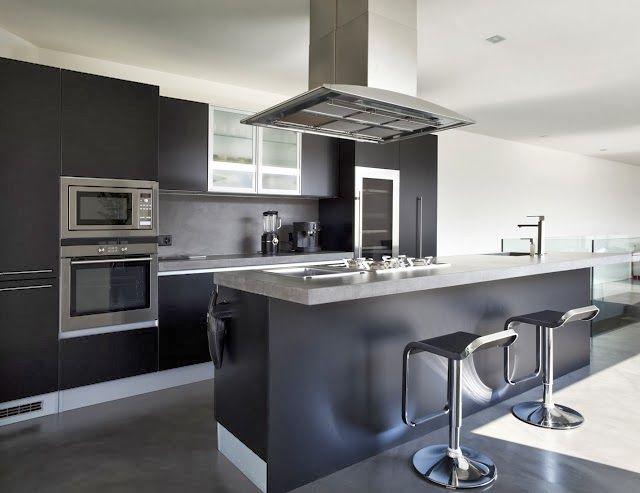 Cocina negra con detalles metalicos cocinas pinterest for Cocinas negras modernas