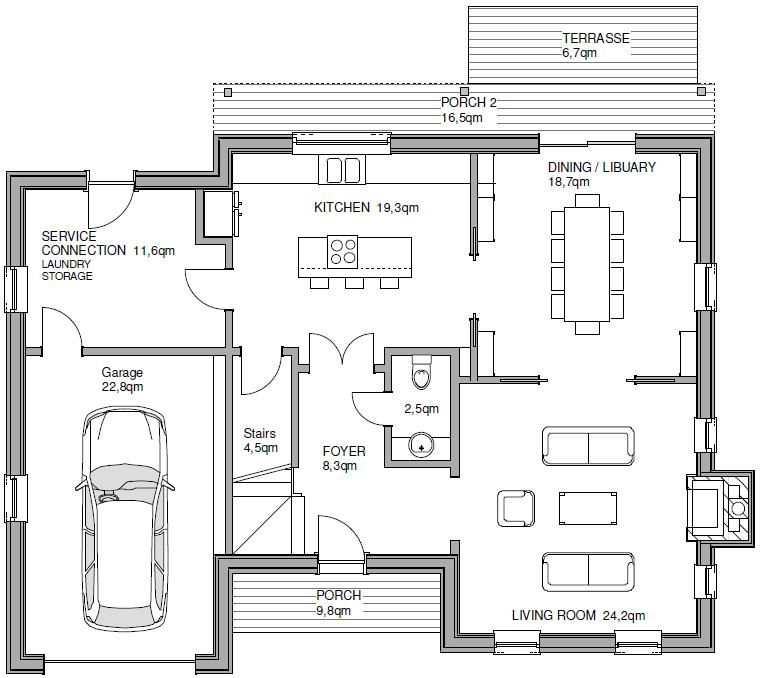 Einfamilienhaus grundriss mit garage  Fertighaus TWH FRANKLIN START Hausansicht: Grundriss 2 | Grundriss ...
