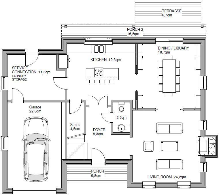 Fertighaus stadtvilla garage  Fertighaus TWH FRANKLIN START Hausansicht: Grundriss 2 ...